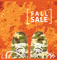 autumn sale banner with the inscription and shoes vector image vector image