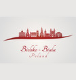 bielsko-biala skyline in red vector image vector image