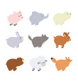big set isolated animals collection funny vector image
