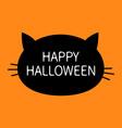 black cat head happy halloween lettering contour vector image