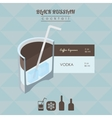 Black Russian cocktail flat style isometric vector image