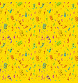 bright colorful confetti and serpentine on yellow vector image