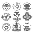 butcher shop monochrome vintage emblems vector image