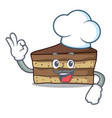 chef tiramisu character cartoon style vector image