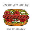 classic grill beef hot dog on a sesame bun with vector image