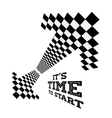 clock arrows in form checkered flag vector image vector image