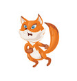 cute colorful red fox is scared in wild forest vector image vector image