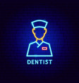 dentist neon label vector image