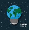 earth hour globe map bulb clock celebration annual vector image vector image