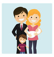 family with a son and a newborn baby on blue vector image
