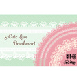 five cute lace brushes set with pastel background vector image vector image