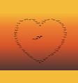 flock of birds flying heart vector image