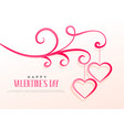 floral design with two hanging hearts valentines vector image vector image