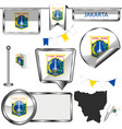 glossy icons with flag of jakarta indonesia vector image vector image