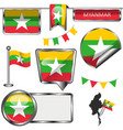 glossy icons with flag of myanmar vector image vector image