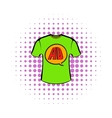Green shirt with AD letters icon in comics style vector image vector image