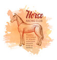 hand drawn sketch horse horse racing club vector image vector image