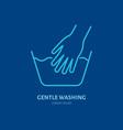 handwash icon gentle washing line sign flat logo vector image