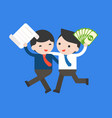happy two businessman hold a contract and money vector image vector image