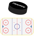 Hockey field and puck vector image vector image