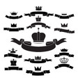 king and queen crown silhouette icon set isolated vector image vector image