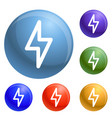 light power icons set vector image