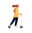 modern people girl riding kick scooter trendy vector image vector image