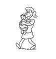 mother holding a baby outlined cartoon handrawn vector image