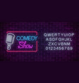 neon comedy show sign with retro microphone and vector image