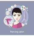 Piercing Salon Flat Style Design vector image