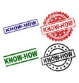 scratched textured know-how stamp seals vector image vector image