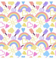 seamless pattern with rainbow clouds hearts vector image vector image