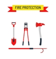 Set Firefighter Fire safety Flat Icons and vector image