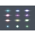 Set Glows Bright Star Lights Glowing Stars vector image vector image