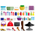 set of female accessories vector image