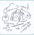 set of medical tools doctor bag vector image vector image