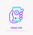 smartphone with music app in hand vector image vector image