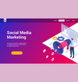 social media marketing 3d template vector image vector image
