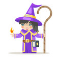 sorceress layered girl mage warlock wisewoman vector image