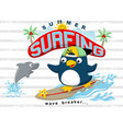 surfing at summer with funny animals cartoon vector image vector image