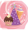 sweet and delicious cupcake with party hat and ice vector image vector image