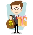 The young man gives a bag with dollars and gift vector image