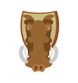 warthog hunting trophy head wild boar on shield vector image vector image