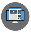 web page with video on monitor image a site or vector image