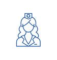 woman doctor nurse line icon concept woman vector image vector image
