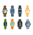 wristwatch set classic and modern watches vector image vector image