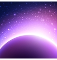 Space background with planet and shining sun vector image