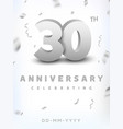 30 years silver number anniversary celebration vector image vector image