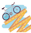 bicycle and tape measure healthy lifestyle set vector image vector image