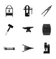 blacksmith profession icon set simple style vector image vector image